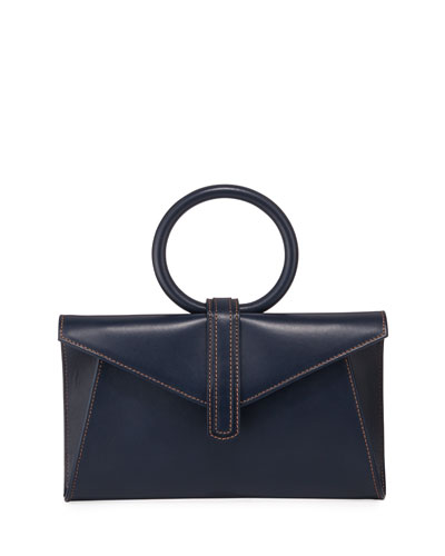 Valery Mini Leather Satchel Bag, Navy