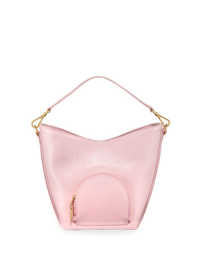Eva Mini Soft Leather Bucket Bag, Pink