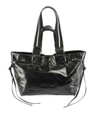 Isabel Marant Bagya New Crackled Tote Bag, Black