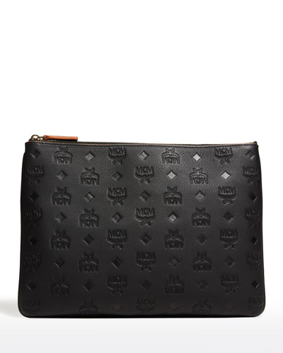 Klara Medium Monogrammed Leather Clutch Bag