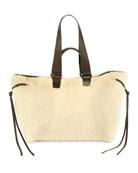 Isabel Marant Wardym Large Shearling Shoulder Bag