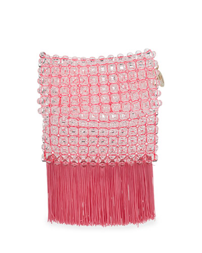 Groove Transparent Beaded Clutch Bag, Bright Pink