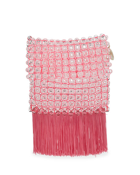 Rosantica Groove Transparent Beaded Clutch Bag, Bright Pink