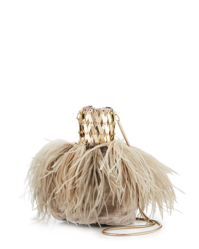 Porthos Feather Velvet Clutch Bag
