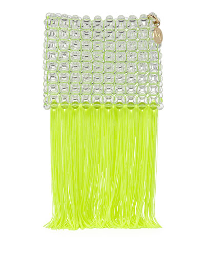 Groove Transparent Beaded Clutch Bag, Bright Yellow