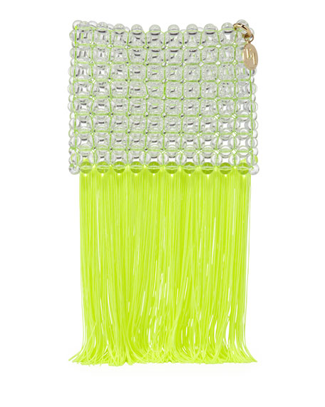 Rosantica Groove Transparent Beaded Clutch Bag, Bright Yellow