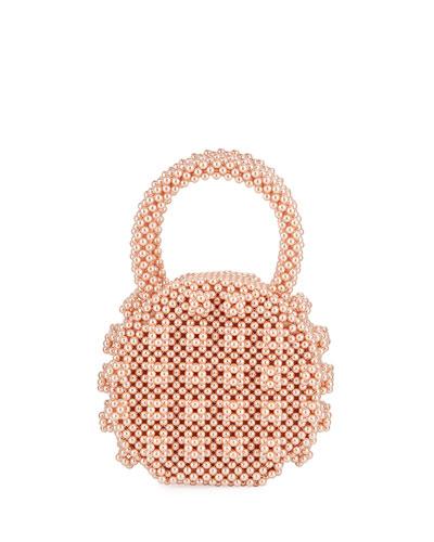 Circle Beaded Top Handle Bag