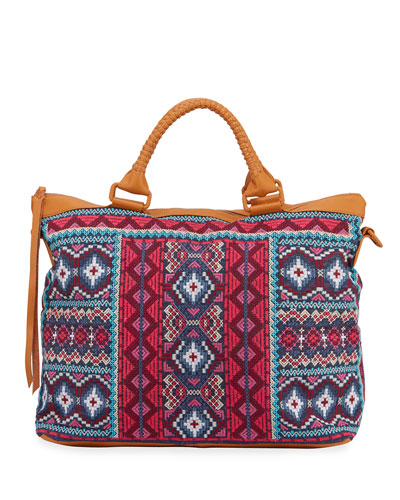 Kaya Embroidered Overnight Tote Bag