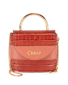 Chloe Aby Lock Croco-Embossed Shoulder Bag with Metal