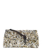 Dries Van Noten Sequin Zip-Top Clutch Bag