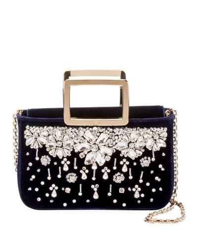 Joie De Vivier Flowers Embroidery Top-Handle Bag