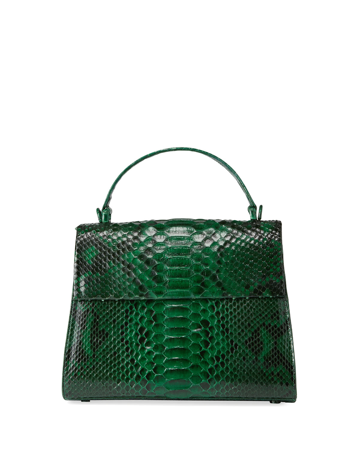 Nancy Gonzalez Large Python Top-Handle Bag With Strap In Green