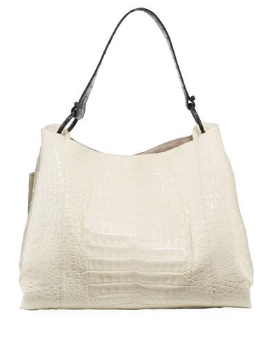Large Soft Crocodile Hobo Bag