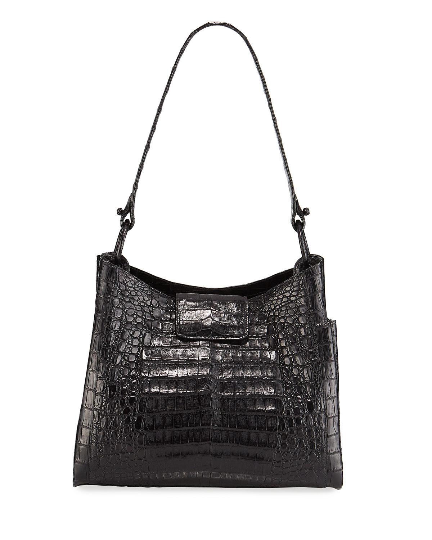 Nancy Gonzalez Medium Soft Crocodile Hobo Bag In Black