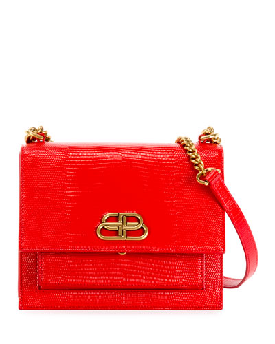 Sharp Small Lizard-Embossed Shoulder Bag