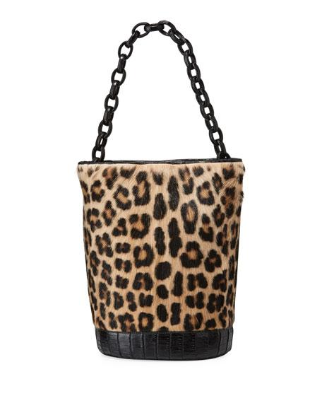Nancy Gonzalez Jojo Large Crocodile & Goat Fur Bucket Bag