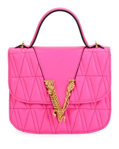 Trapuntata Leather Top-Handle Bag