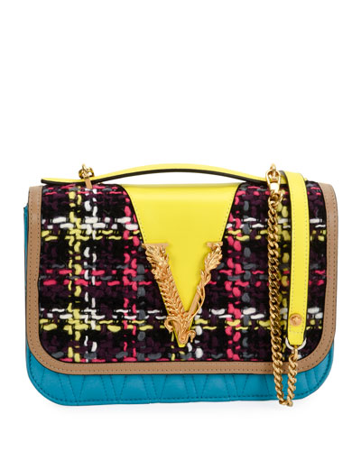Colorblock Tweed and Leather Shoulder Bag