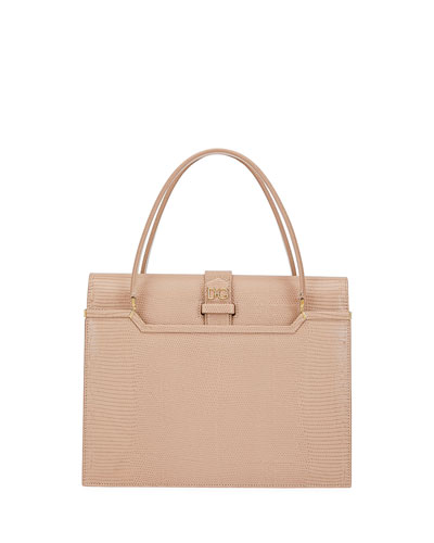 Ingrid Iguana-Embossed Small Top Handle Bag, Pink