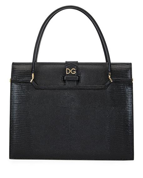 Dolce & Gabbana Ingrid Iguana-Embossed Large Top Handle Bag