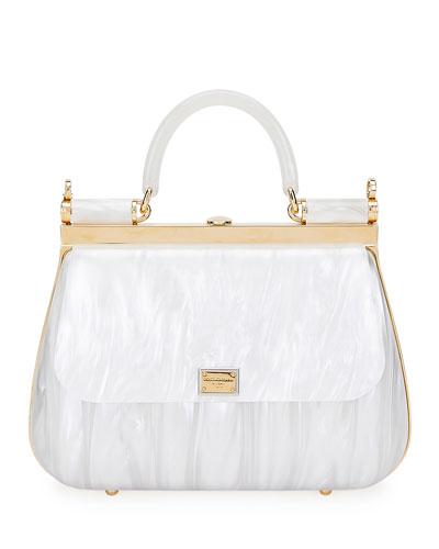 Plexi Madre Pearla Lace Top- Handle Bag
