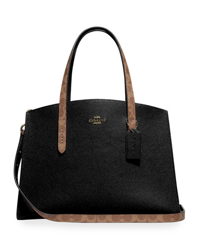 Charlie Coated Canvas Signature Blocking Carryall Tote Bag