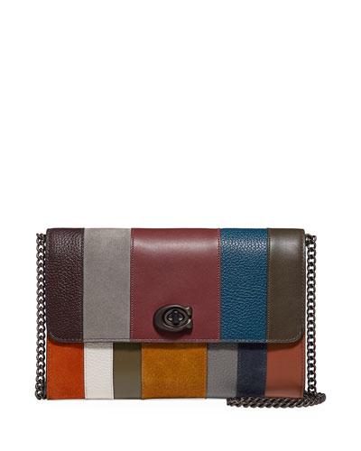 Marlow Allover Patchwork Stripes Shoulder Bag