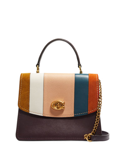 Parker Patchwork Stripe Top-Handle Satchel Bag