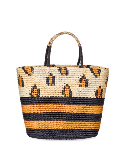 Maxi Leopard Straw Tote Bag