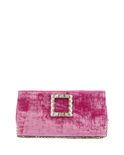 Sweet Vivier Crushed Velvet Crystal-Buckle Clutch Bag