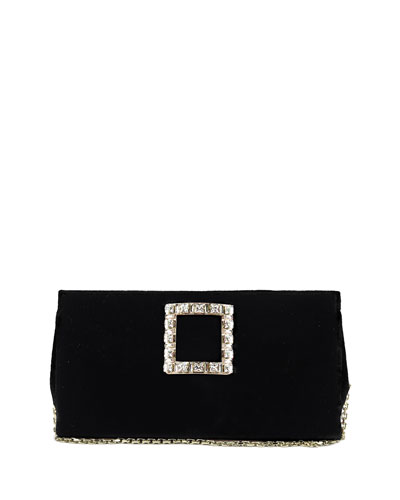 Sweet Vivier Velvet Crystal-Buckle Clutch Bag