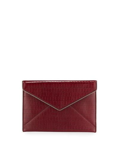 Leo Crocodile-Embossed Clutch Bag