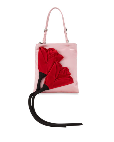 Blossom Mini Zip-Top Tote Bag with Chain