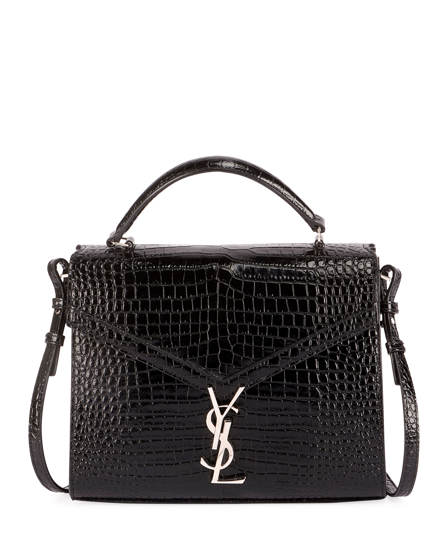 b4e4e9b1734 Saint Laurent Cassandra Ysl Monogram Crocodile-Embossed Top-Handle Bag In  Black