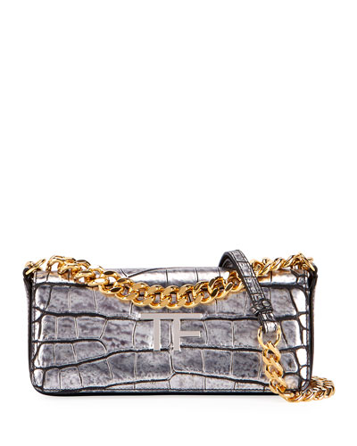 Small TF Croc-Embossed Shoulder Bag