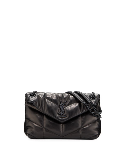 Lou Small Quilted Lambskin Leather Flap-Top Shoulder Bag, Black Hardware