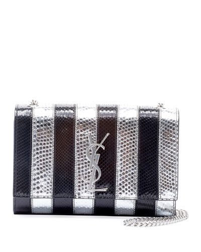 New Kate Small YSL Monogram Striped Python Crossbody Bag