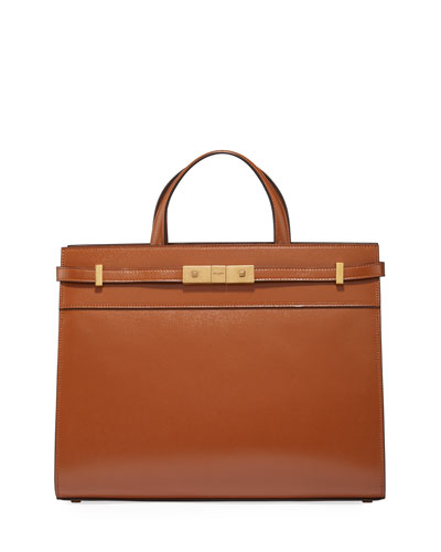 Manhattan Small Smooth Leather Shoulder Tote Bag