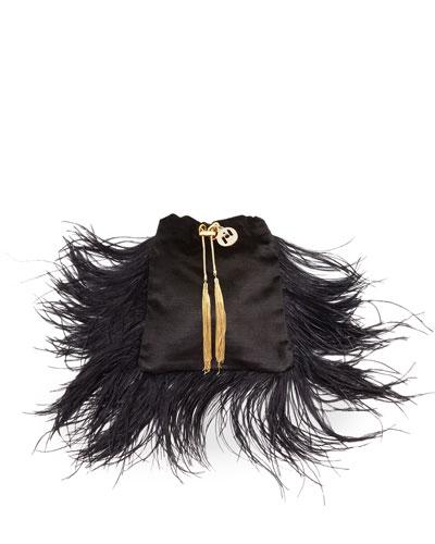 Mademoiselle Velvet Feather Clutch Bag