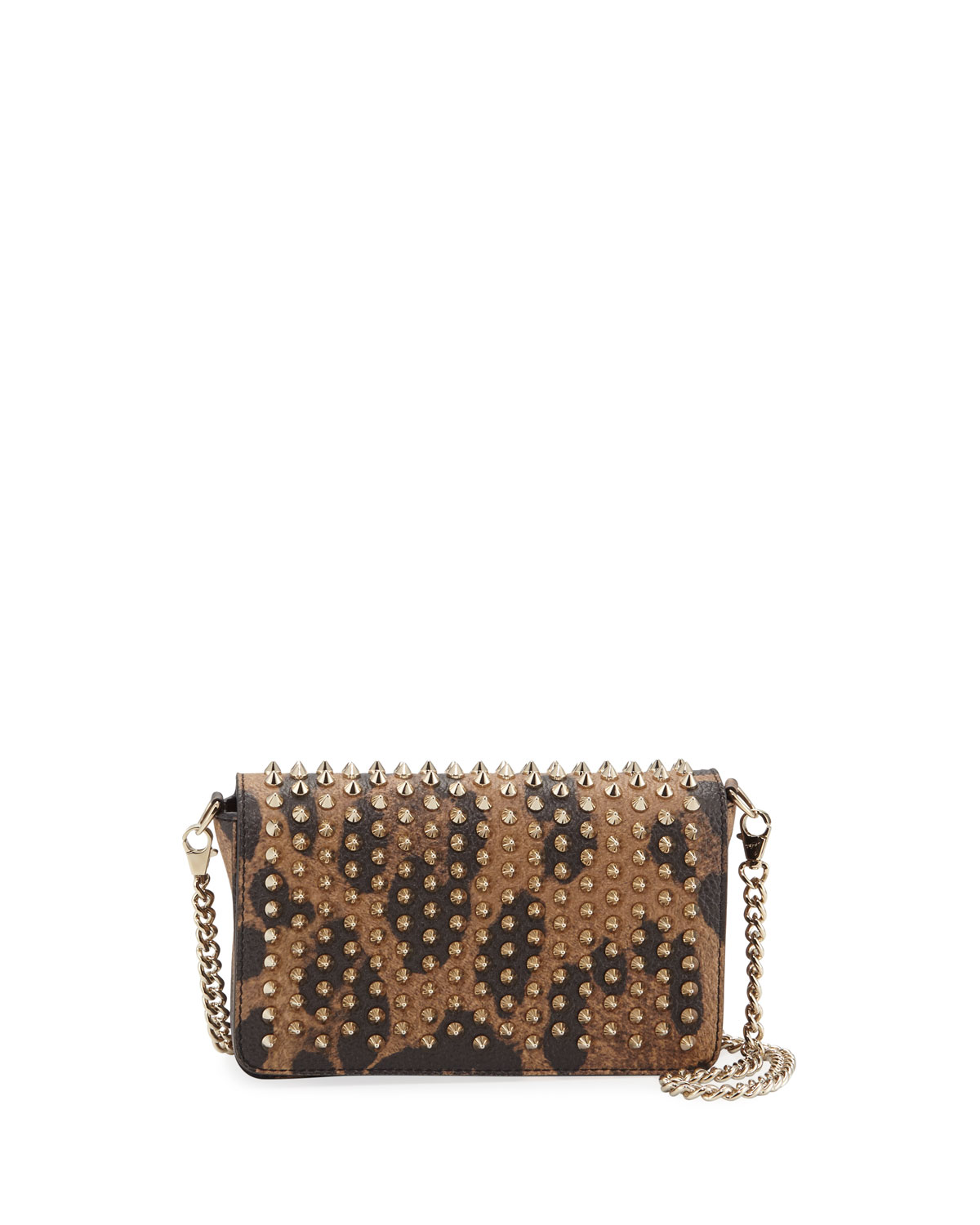 dd2c1479f99 Zoompouch Calf Empire Spikes Leopard Clutch Bag in Brown/Gold