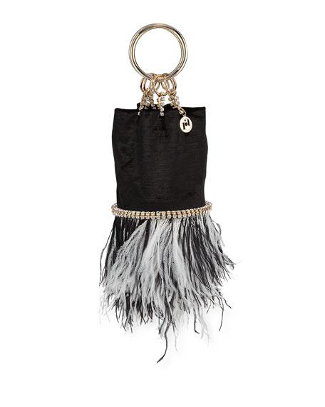 Rosantica Ghizlan Velvet Feather Minaudiere Bag