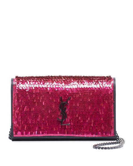 Saint Laurent Kate YSL Paillette Wallet On Chain