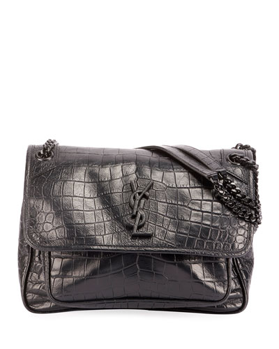 Niki Medium YSL Monogram Crocodile-Embossed Chain Shoulder Bag