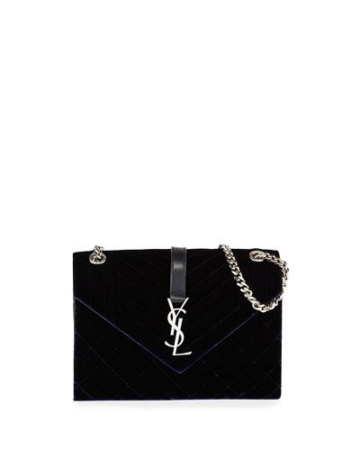 V Flap Monogram YSL Medium Tri-Quilt Velvet Shoulder Bag