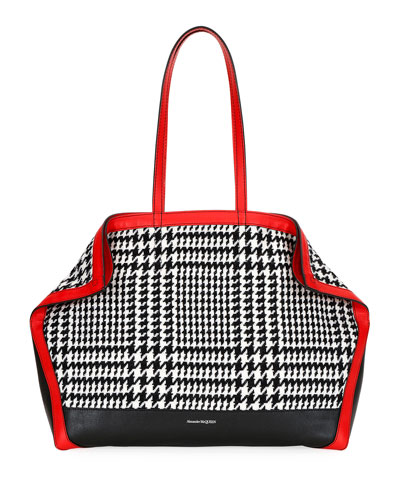 Glen Plaid Butterfly Tote Bag with Red Trim