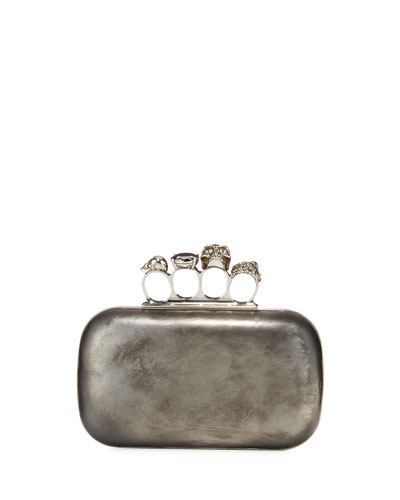 Antiqued 4-Ring Knuckle Clutch Bag