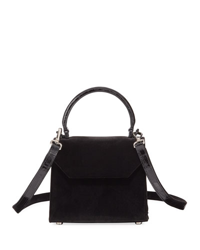Lily Mini Velvet Top-Handle Bag