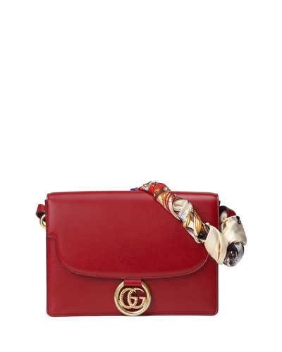 GG Ring Medium Textured Leather Shoulder Bag with Silk Foulard