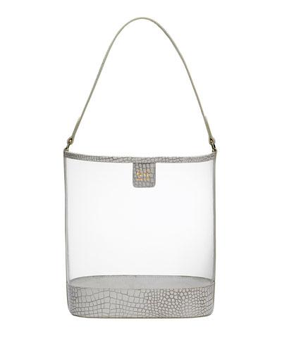 Virginia PVC Hobo Bag with Croco Trim