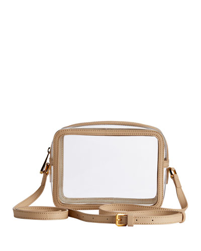 Collins PVC Crossbody Bag with Leather Border